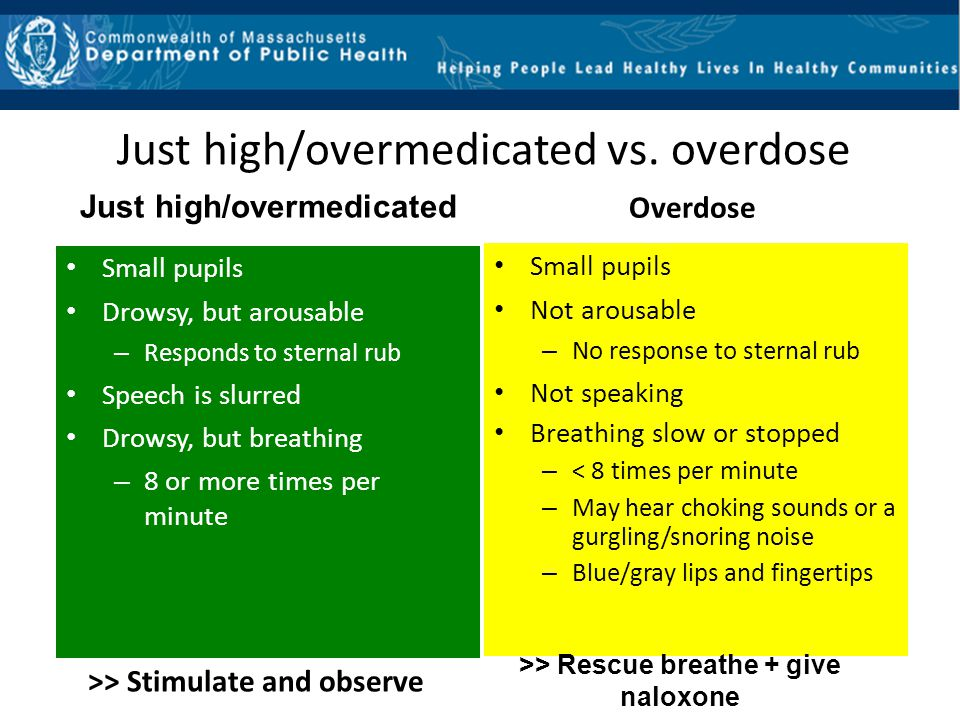 Just high/overmedicated Small pupils Drowsy, but arousable – Responds to sternal rub Speech is slurred Drowsy, but breathing – 8 or more times per min