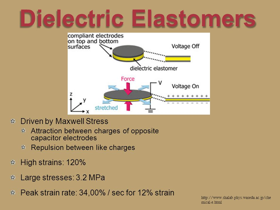 Dielectric Elastomers Driven by Maxwell Stress Attraction between charges of opposite capacitor electrodes Repulsion between like charges High strains: 120% Large stresses: 3.2 MPa Peak strain rate: 34,00% / sec for 12% strain http://www.shalab.phys.waseda.ac.jp/che mical-e.html