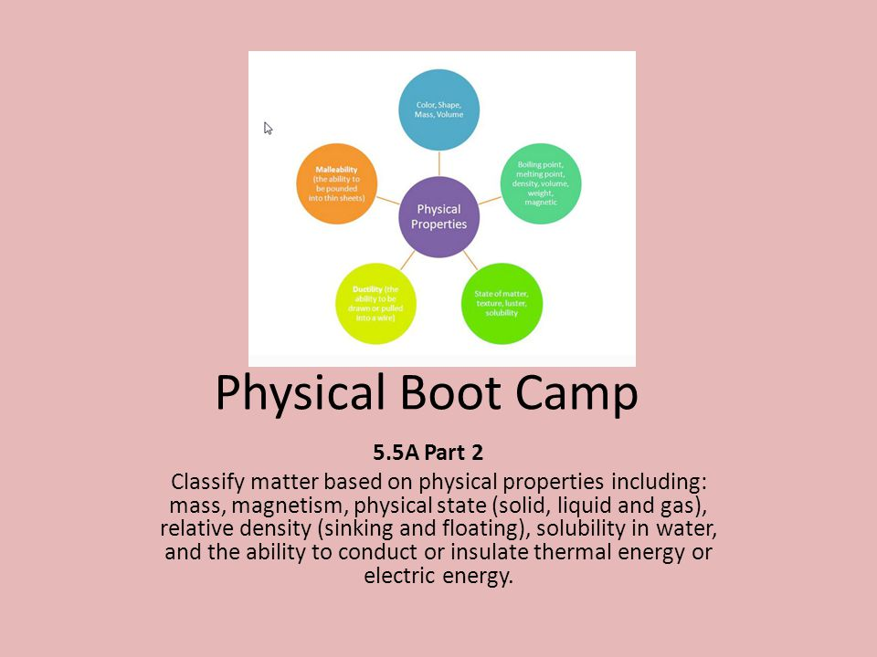 Physical Boot Camp 5.5A Part 2 Classify matter based on physical properties including: mass, magnetism, physical state (solid, liquid and gas), relative density (sinking and floating), solubility in water, and the ability to conduct or insulate thermal energy or electric energy.