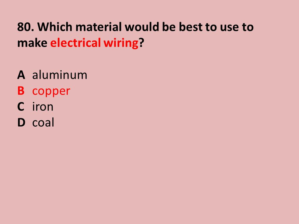 80.Which material would be best to use to make electrical wiring.