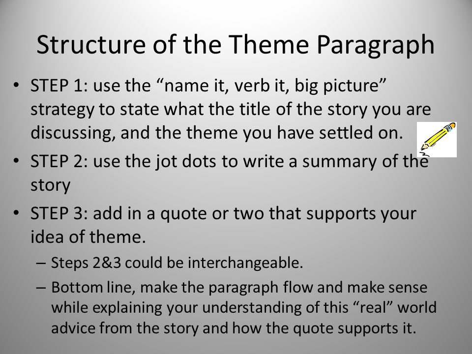 """Structure of the Theme Paragraph STEP 1: use the """"name it, verb it, big picture"""" strategy to state what the title of the story you are discussing, and"""