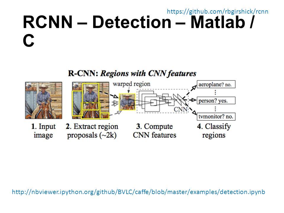 RCNN – Detection – Matlab / C https://github.com/rbgirshick/rcnn http://nbviewer.ipython.org/github/BVLC/caffe/blob/master/examples/detection.ipynb