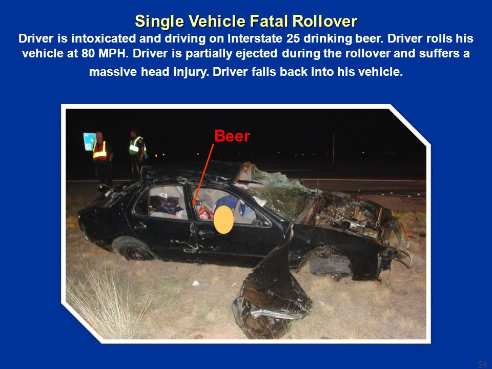26 Beer Single Vehicle Fatal Rollover Driver is intoxicated and driving on Interstate 25 drinking beer.