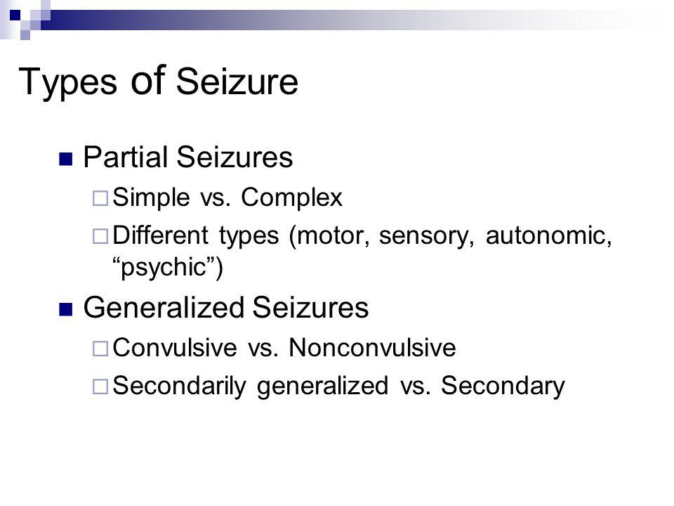 Types of Seizure Partial Seizures  Simple vs.