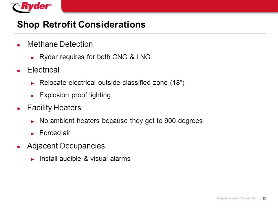Proprietary and Confidential | 19 Shop Retrofit Considerations Methane Detection ► Ryder requires for both CNG & LNG Electrical ► Relocate electrical