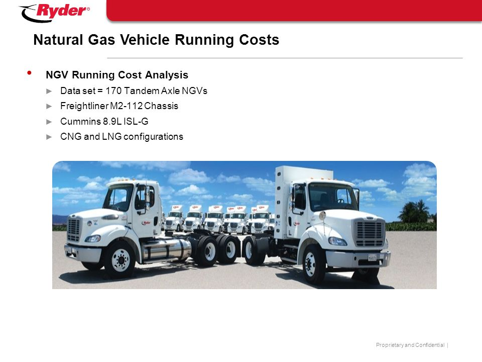 Proprietary and Confidential | Natural Gas Vehicle Running Costs NGV Running Cost Analysis ► Data set = 170 Tandem Axle NGVs ► Freightliner M2-112 Cha