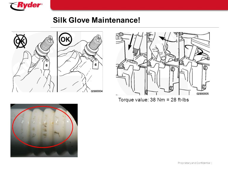 Proprietary and Confidential | Silk Glove Maintenance! Torque value: 38 Nm = 28 ft-lbs