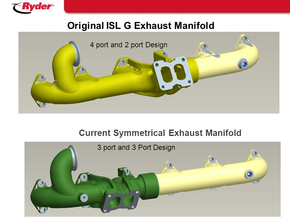 Proprietary and Confidential | Original ISL G Exhaust Manifold 26 4 port and 2 port Design Current Symmetrical Exhaust Manifold 3 port and 3 Port Desi