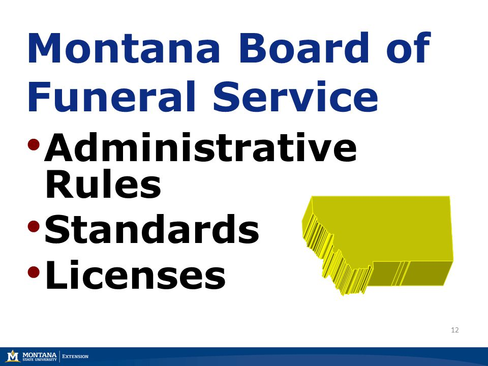 12 Montana Board of Funeral Service Administrative Rules Standards Licenses