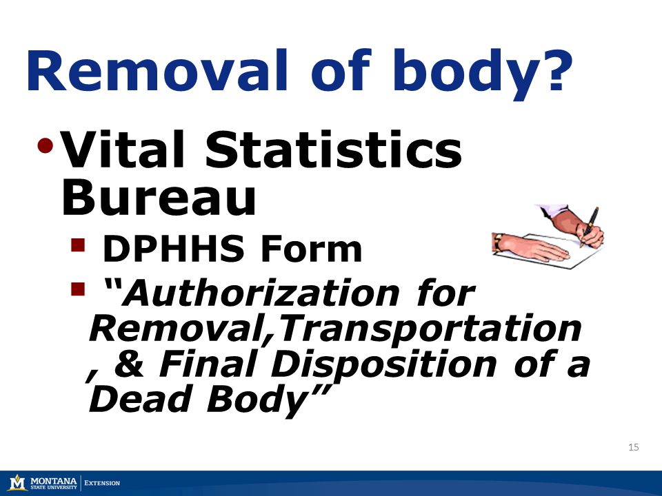 15 Removal of body.