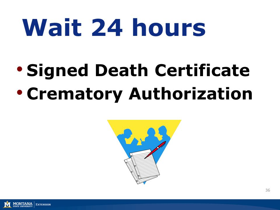 36 Wait 24 hours Signed Death Certificate Crematory Authorization