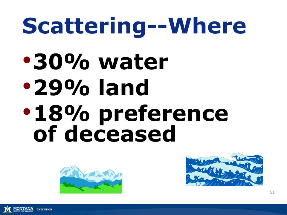 51 Scattering--Where 30% water 29% land 18% preference of deceased