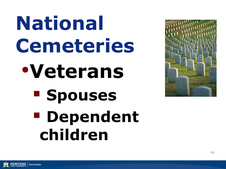64 National Cemeteries Veterans  Spouses  Dependent children