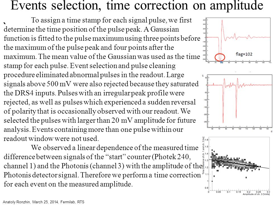 Events selection, time correction on amplitude ` Anatoly Ronzhin, March 25, 2014, Fermilab, RTS To assign a time stamp for each signal pulse, we first