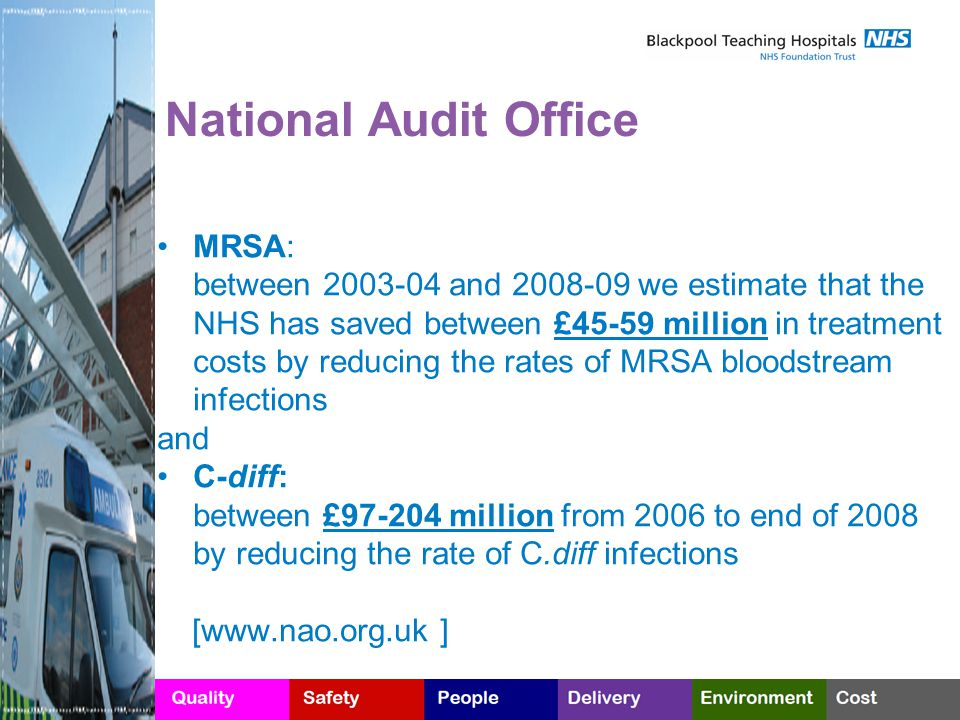 National Audit Office MRSA: between 2003-04 and 2008-09 we estimate that the NHS has saved between £45-59 million in treatment costs by reducing the rates of MRSA bloodstream infections and C-diff: between £97-204 million from 2006 to end of 2008 by reducing the rate of C.diff infections [www.nao.org.uk ]