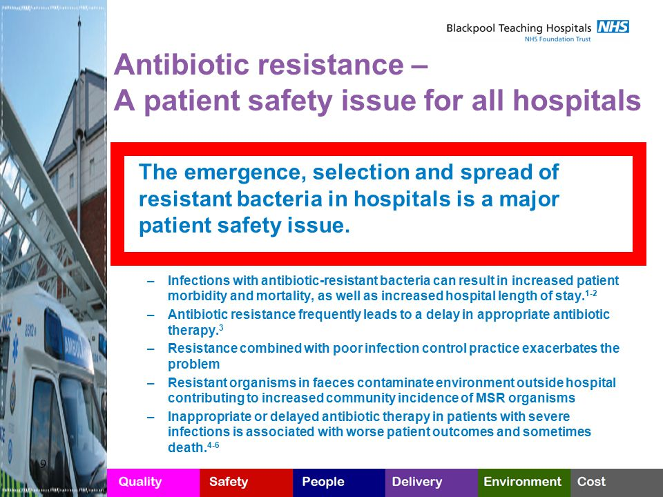 Antibiotic resistance – A patient safety issue for all hospitals The emergence, selection and spread of resistant bacteria in hospitals is a major pat