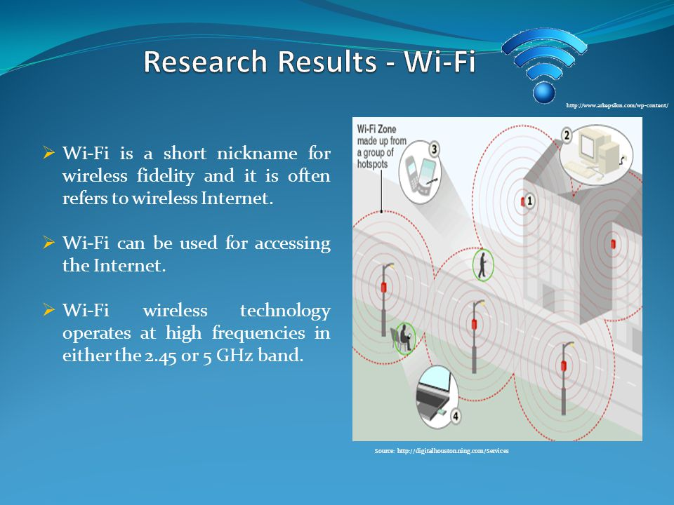  Wi-Fi is a short nickname for wireless fidelity and it is often refers to wireless Internet.