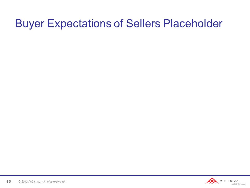 Buyer Expectations of Sellers Placeholder © 2012 Ariba, Inc. All rights reserved. 15