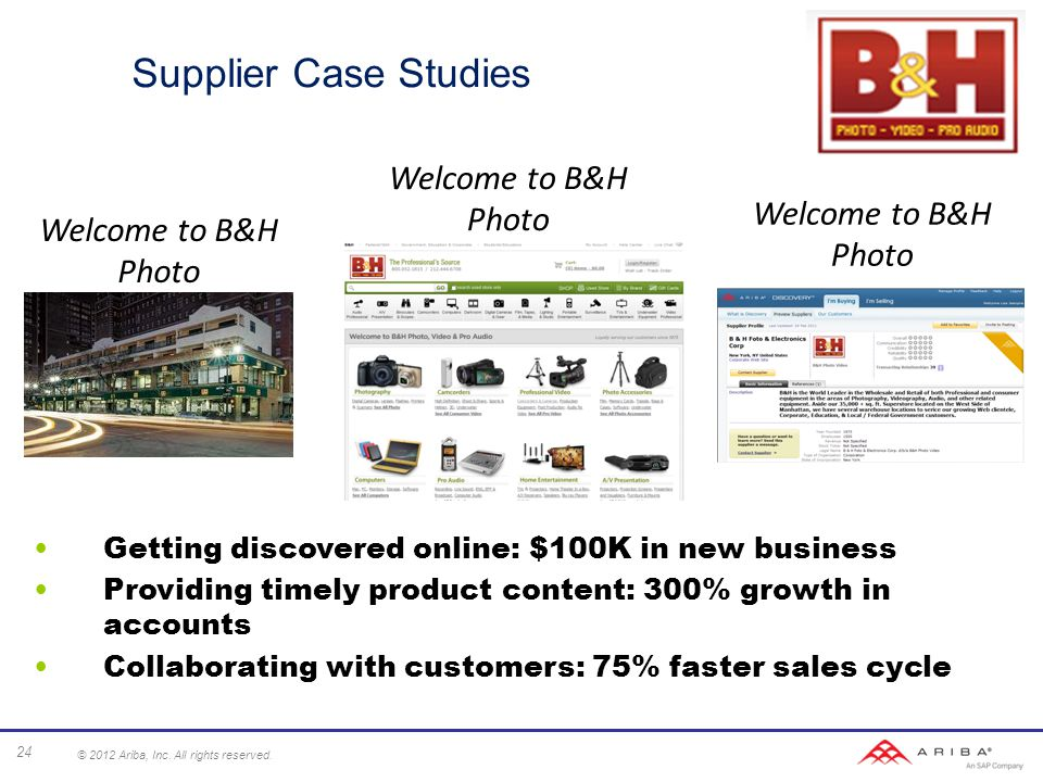 Supplier Case Studies Getting discovered online: $100K in new business Providing timely product content: 300% growth in accounts Collaborating with customers: 75% faster sales cycle Welcome to B&H Photo 24 © 2012 Ariba, Inc.
