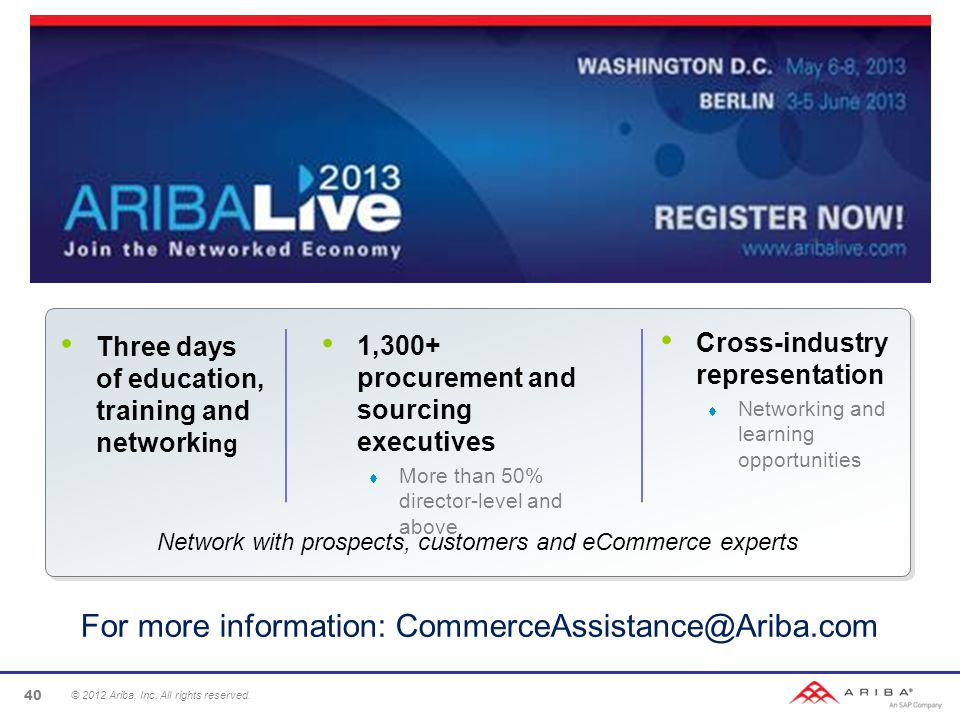 Three days of education, training and networki ng 1,300+ procurement and sourcing executives  More than 50% director-level and above Cross-industry representation  Networking and learning opportunities Network with prospects, customers and eCommerce experts © 2012 Ariba, Inc.