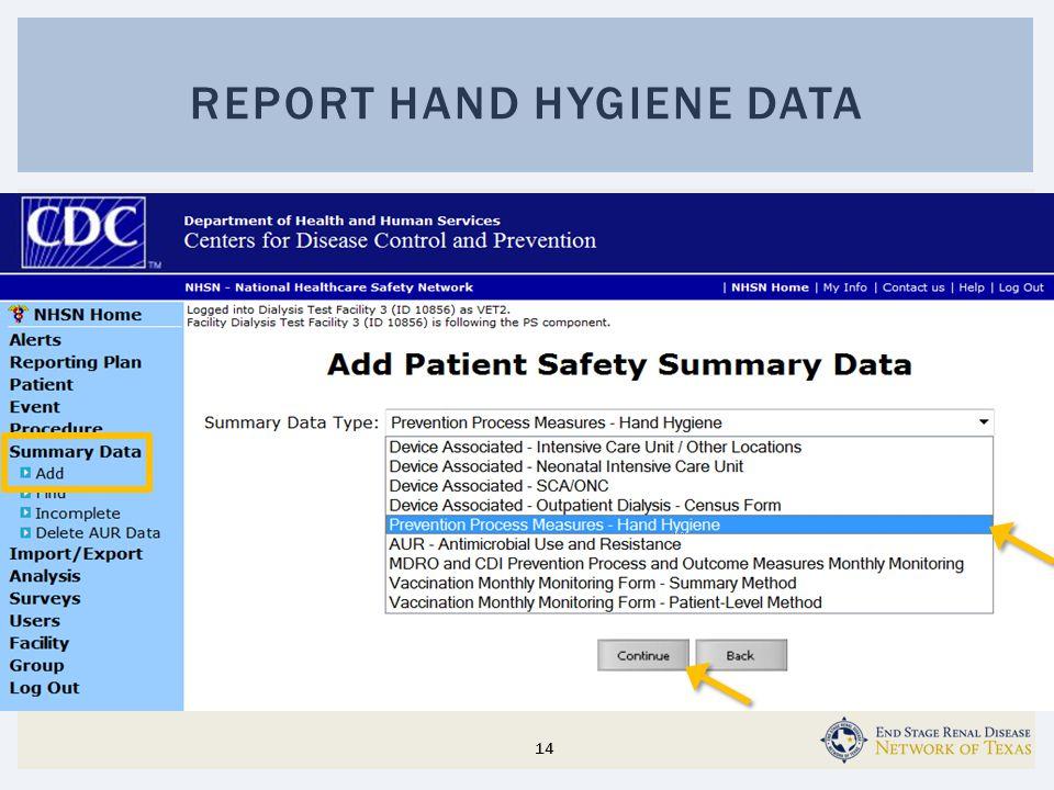 REPORT HAND HYGIENE DATA 14