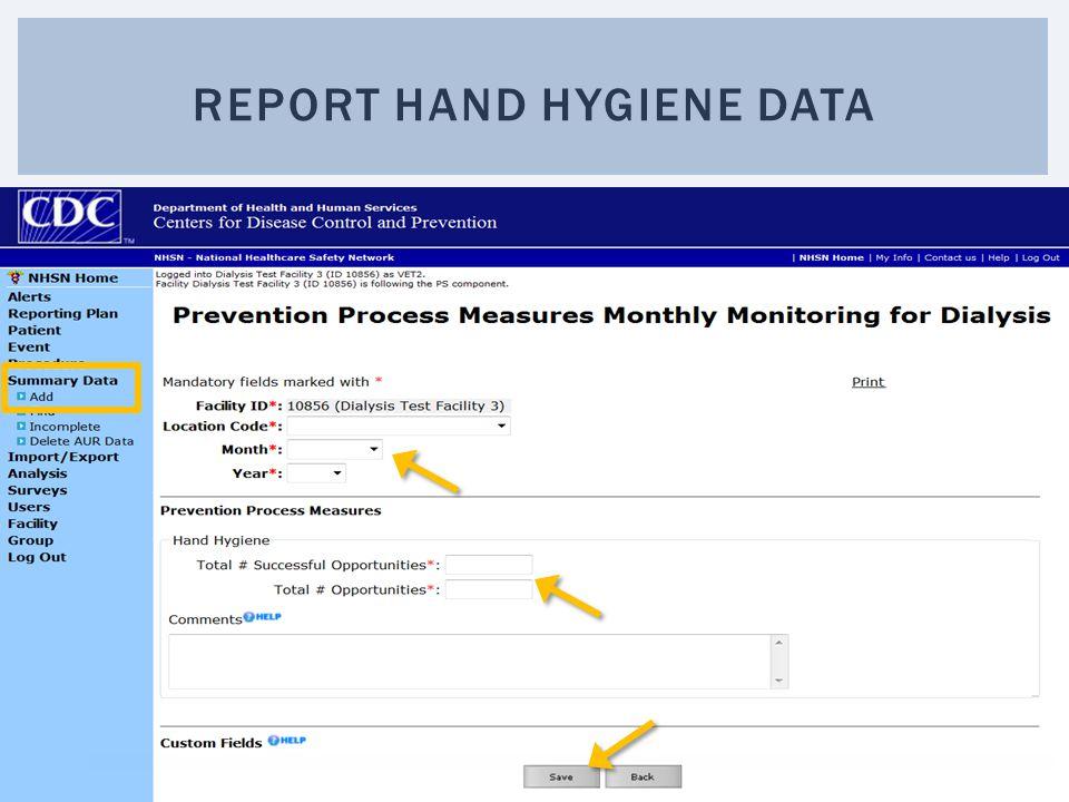 REPORT HAND HYGIENE DATA