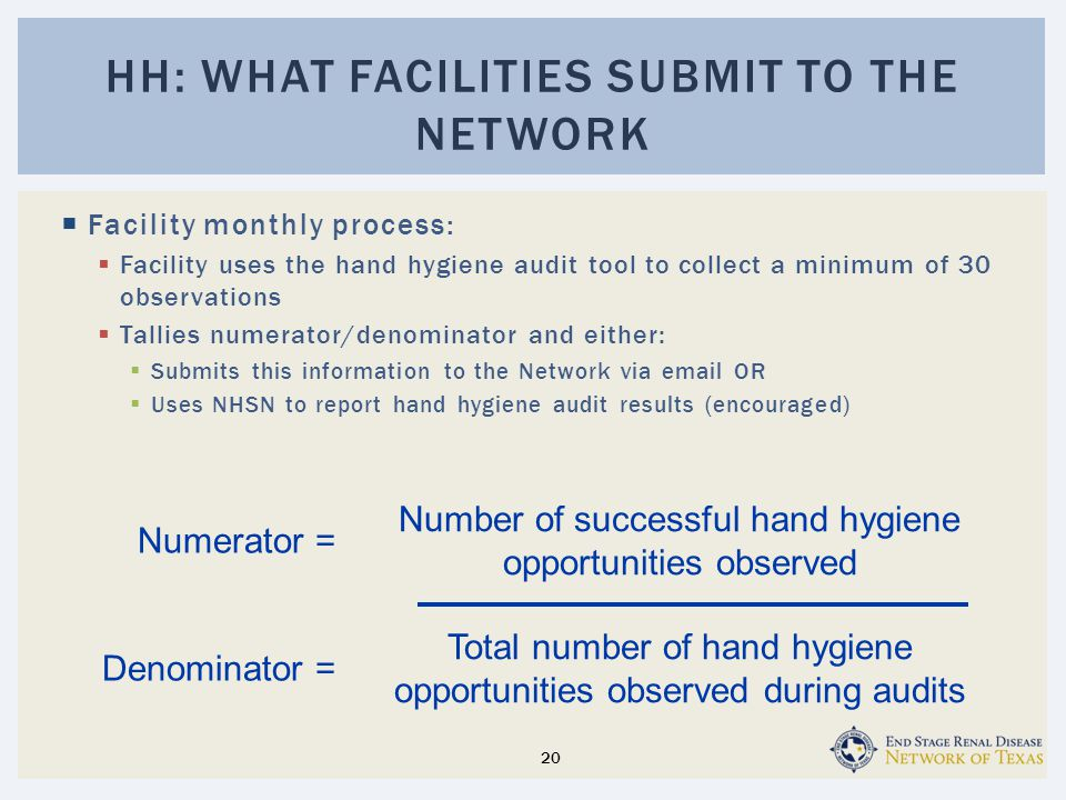  Facility monthly process:  Facility uses the hand hygiene audit tool to collect a minimum of 30 observations  Tallies numerator/denominator and either:  Submits this information to the Network via email OR  Uses NHSN to report hand hygiene audit results (encouraged) HH: WHAT FACILITIES SUBMIT TO THE NETWORK Number of successful hand hygiene opportunities observed Total number of hand hygiene opportunities observed during audits Numerator = Denominator = 20