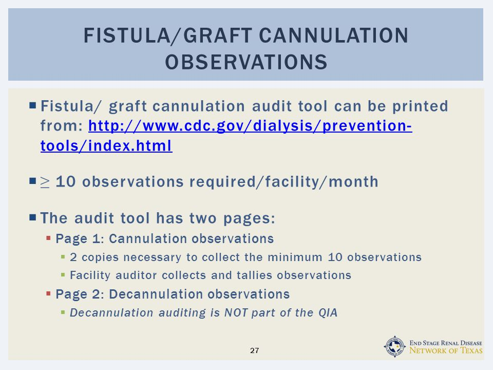  Fistula/ graft cannulation audit tool can be printed from: http://www.cdc.gov/dialysis/prevention- tools/index.htmlhttp://www.cdc.gov/dialysis/prevention- tools/index.html  ≥ 10 observations required/facility/month  The audit tool has two pages:  Page 1: Cannulation observations  2 copies necessary to collect the minimum 10 observations  Facility auditor collects and tallies observations  Page 2: Decannulation observations  Decannulation auditing is NOT part of the QIA FISTULA/GRAFT CANNULATION OBSERVATIONS 27