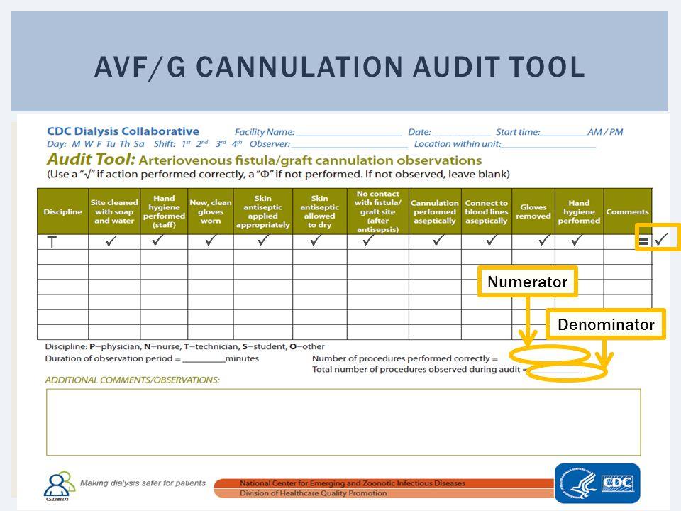 AVF/G CANNULATION AUDIT TOOL T    =  Numerator Denominator