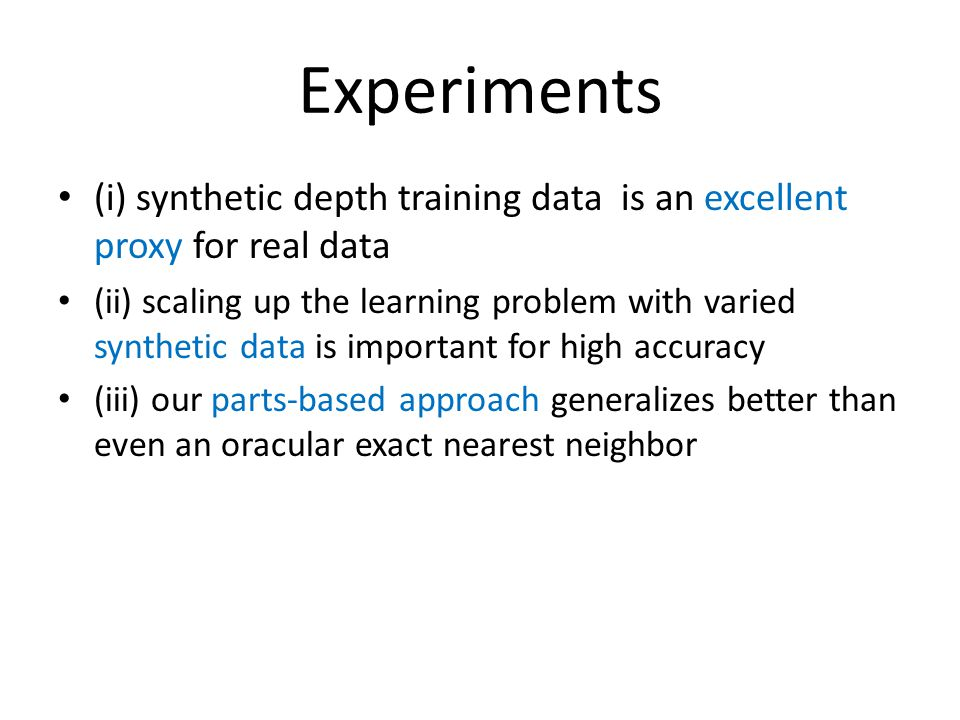 (i) synthetic depth training data is an excellent proxy for real data (ii) scaling up the learning problem with varied synthetic data is important for