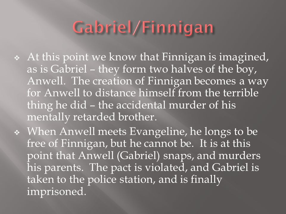  At this point we know that Finnigan is imagined, as is Gabriel – they form two halves of the boy, Anwell.