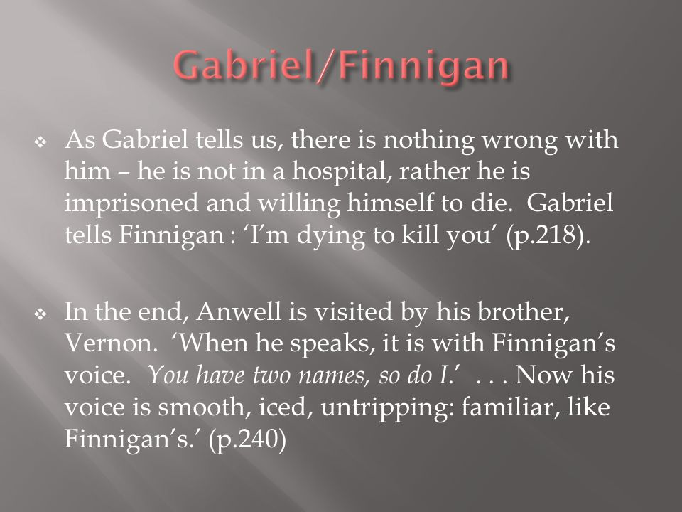  As Gabriel tells us, there is nothing wrong with him – he is not in a hospital, rather he is imprisoned and willing himself to die.