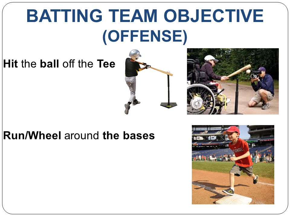 BATTING TEAM OBJECTIVE (OFFENSE) Hit the ball off the Tee Run/Wheel around the bases