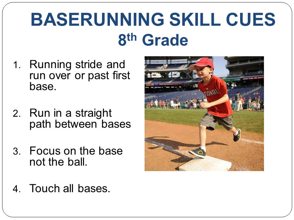 BASERUNNING SKILL CUES 8 th Grade 1.Running stride and run over or past first base.