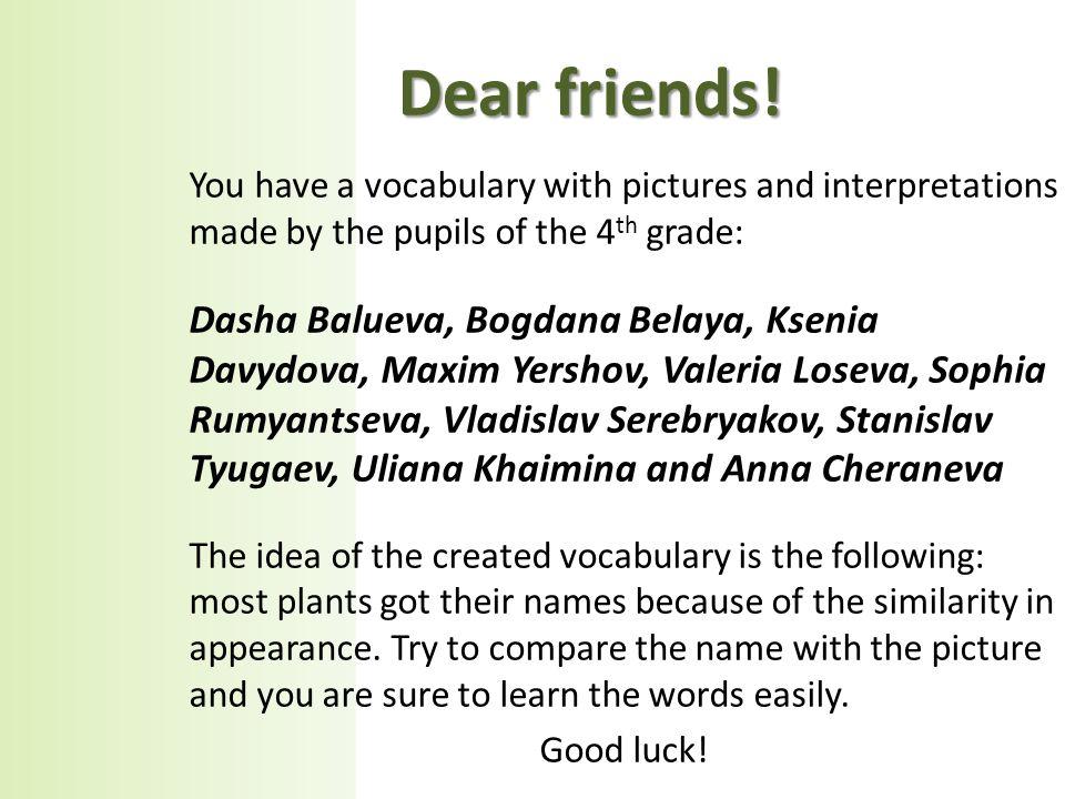 Dear friends.