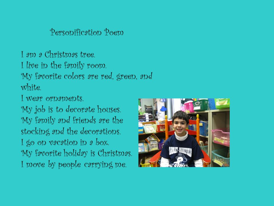 Personification Poem I am a Christmas tree. I live in the family room.
