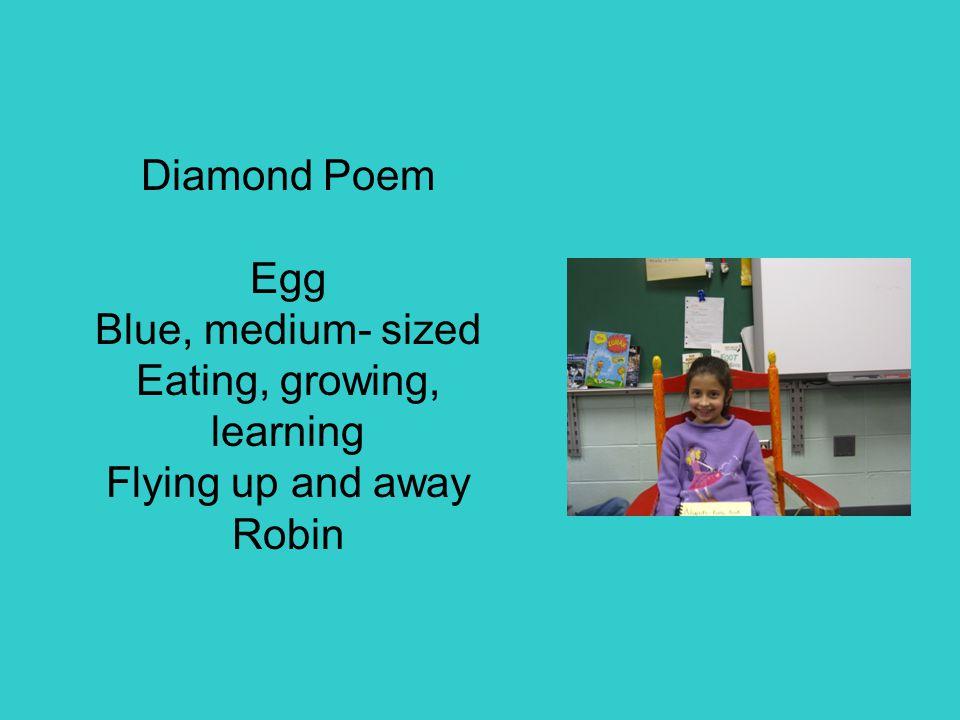 Diamond Poem Egg Blue, medium- sized Eating, growing, learning Flying up and away Robin