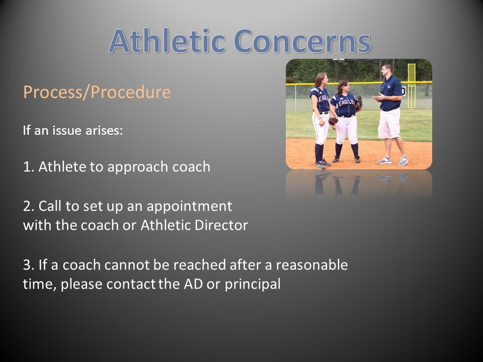 Process/Procedure If an issue arises: 1. Athlete to approach coach 2.