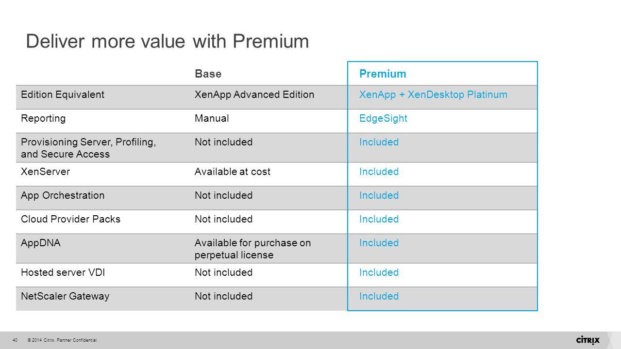 © 2014 Citrix. Partner Confidential.40 Deliver more value with Premium BasePremium Edition EquivalentXenApp Advanced EditionXenApp + XenDesktop Platin