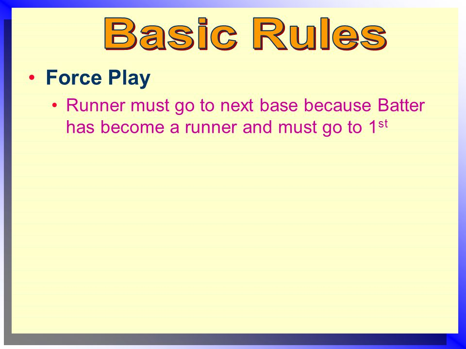 Force Play Runner must go to next base because Batter has become a runner and must go to 1 st