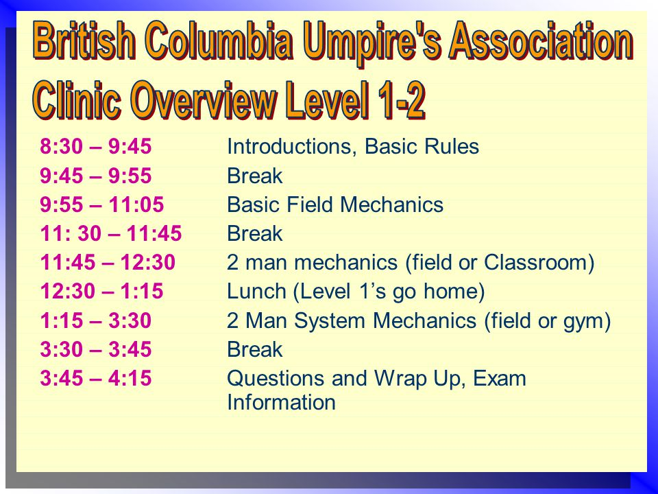 8:30 – 9:45 Introductions, Basic Rules 9:45 – 9:55Break 9:55 – 11:05 Basic Field Mechanics 11: 30 – 11:45Break 11:45 – 12:30 2 man mechanics (field or Classroom) 12:30 – 1:15Lunch (Level 1's go home) 1:15 – 3:302 Man System Mechanics (field or gym) 3:30 – 3:45Break 3:45 – 4:15Questions and Wrap Up, Exam Information