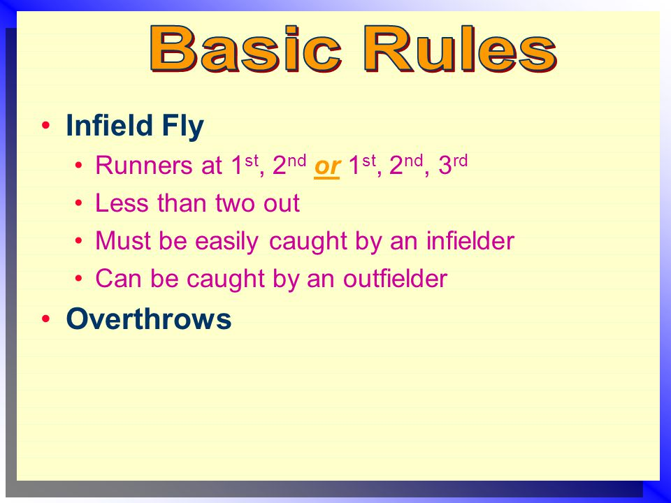 Infield Fly Runners at 1 st, 2 nd or 1 st, 2 nd, 3 rd Less than two out Must be easily caught by an infielder Can be caught by an outfielder Overthrows