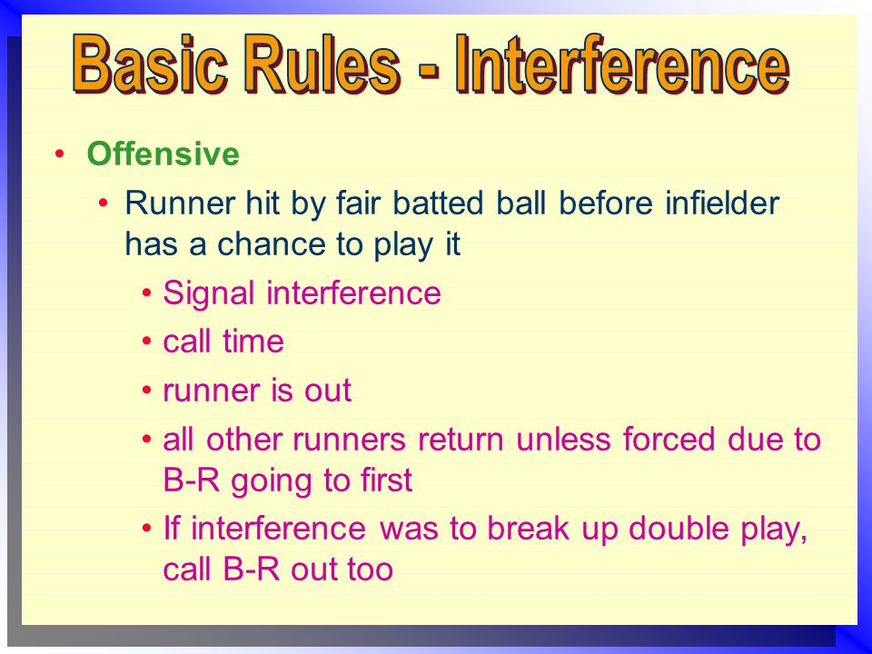 Offensive Runner hit by fair batted ball before infielder has a chance to play it Signal interference call time runner is out all other runners return unless forced due to B-R going to first If interference was to break up double play, call B-R out too