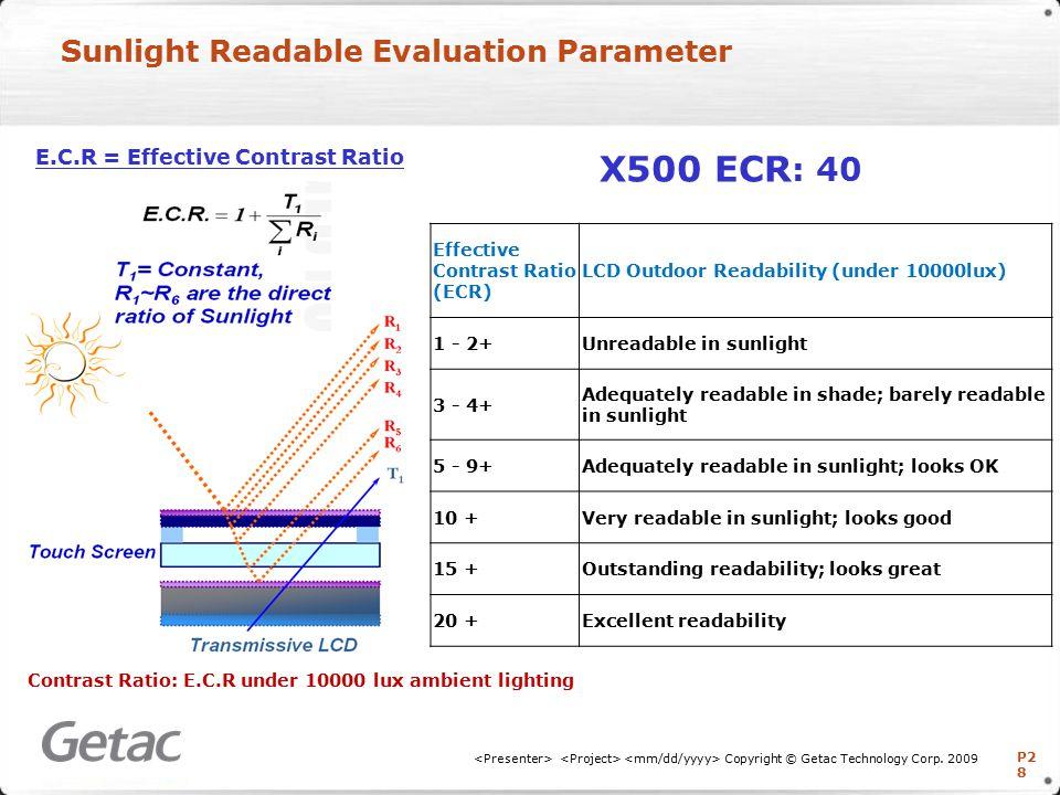 P2 8 Sunlight Readable Evaluation Parameter Copyright © Getac Technology Corp.