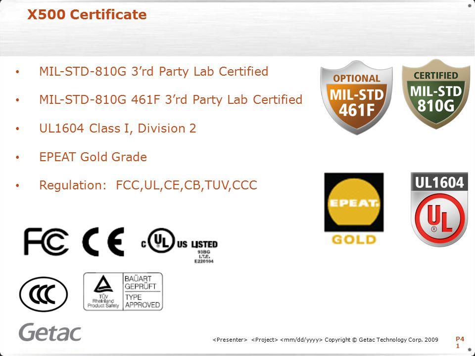 P4 1 X500 Certificate Copyright © Getac Technology Corp.