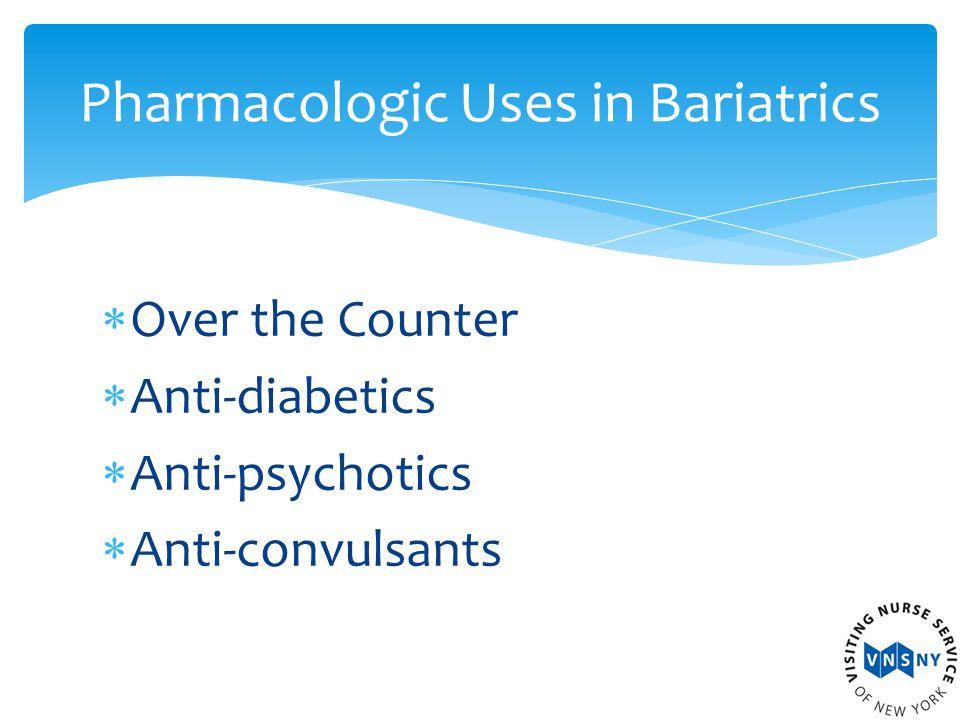  Over the Counter  Anti-diabetics  Anti-psychotics  Anti-convulsants Pharmacologic Uses in Bariatrics