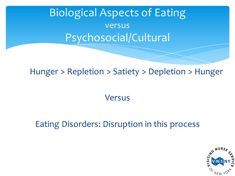 Hunger > Repletion > Satiety > Depletion > Hunger Versus Eating Disorders: Disruption in this process Biological Aspects of Eating versus Psychosocial