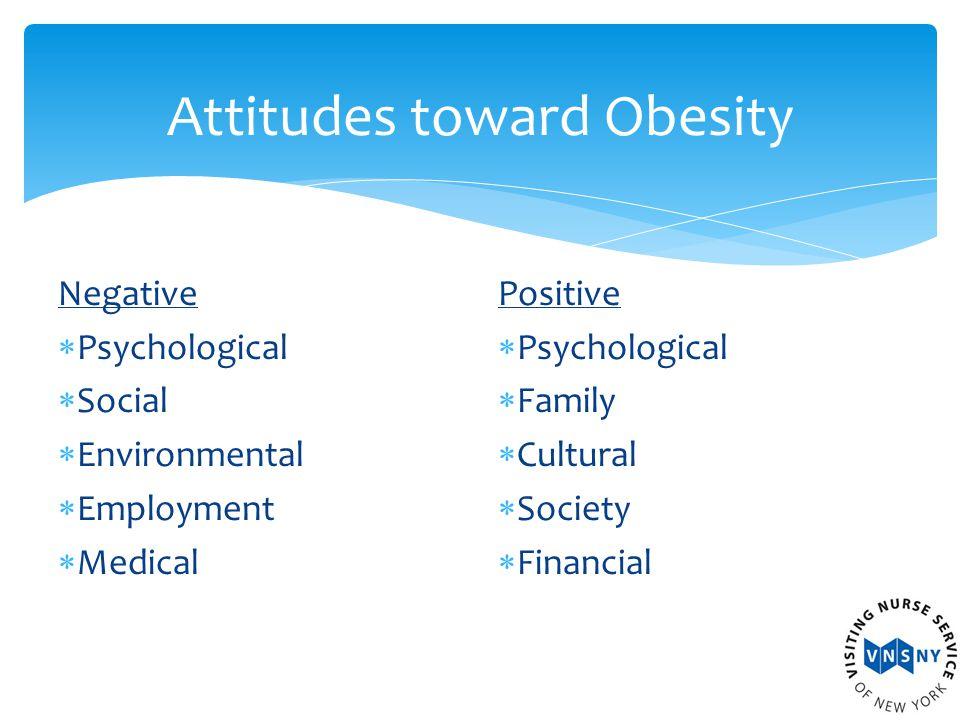 Attitudes toward Obesity Negative  Psychological  Social  Environmental  Employment  Medical Positive  Psychological  Family  Cultural  Society  Financial