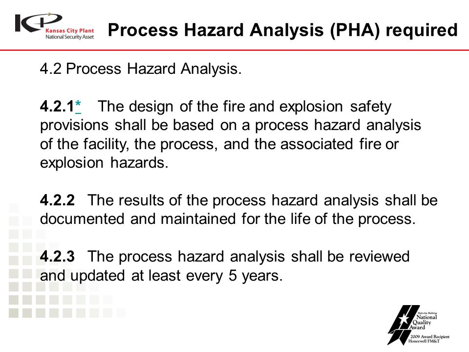 Process Hazard Analysis (PHA) required 4.2 Process Hazard Analysis. 4.2.1* The design of the fire and explosion safety provisions shall be based on a