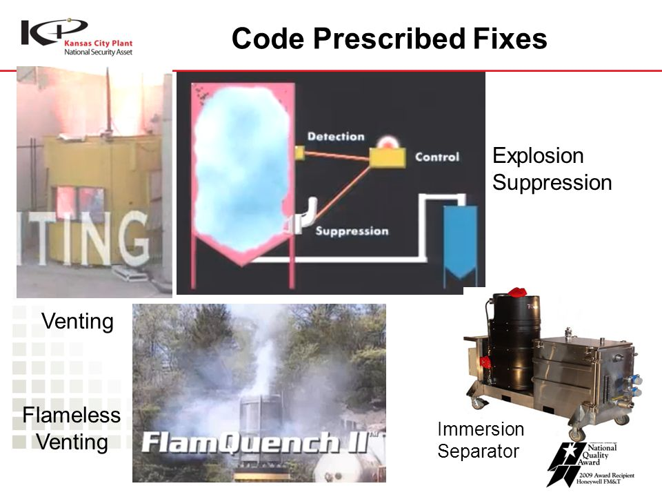 Code Prescribed Fixes Venting Flameless Venting Explosion Suppression Immersion Separator